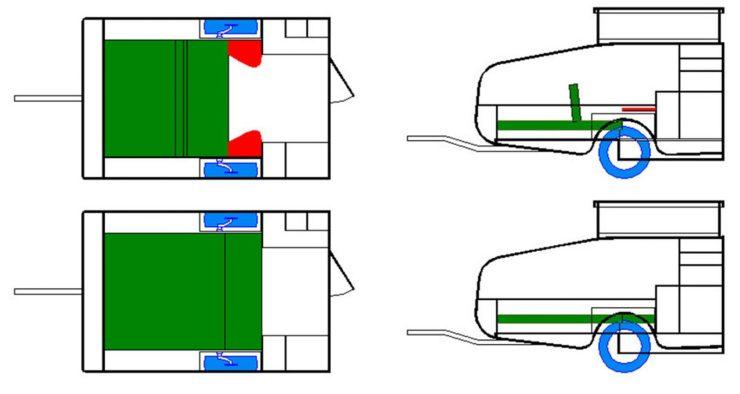 Einrichtungsplan des Mini-Caravans